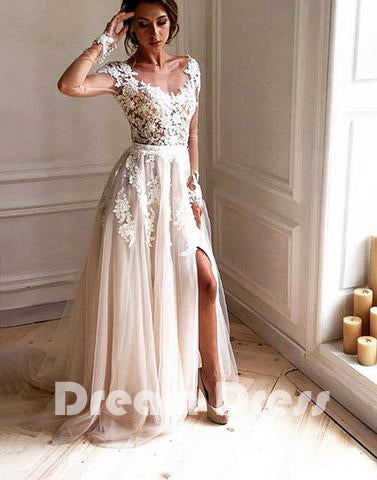 Stylish lace tulle long prom dress, lace long sleeve evening dresses,PD270020