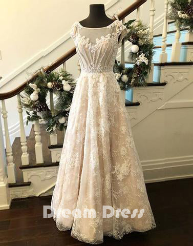 round neck lace long prom dress, evening dresses,PD270021