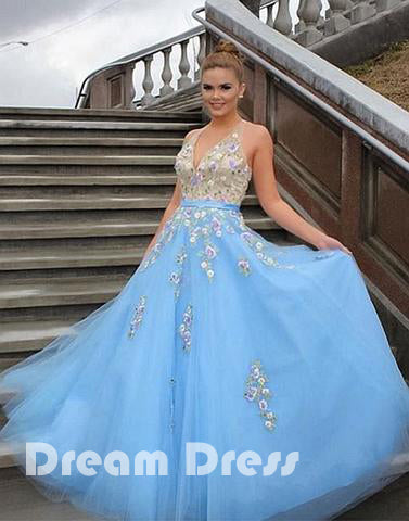 Light blue tulle applique long prom dress, blue evening dresses,PD270029