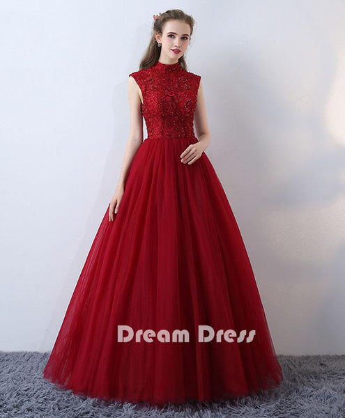 high neck lace long prom dress, Evening dresses,PD280004