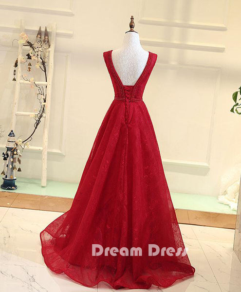 V neck lace long prom dresses,evening dresses,PD280006