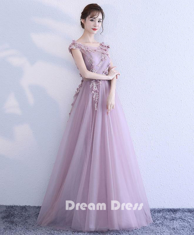 Pink Lace Tulle Long Prom Dresses Pink Evening Dressespd280013