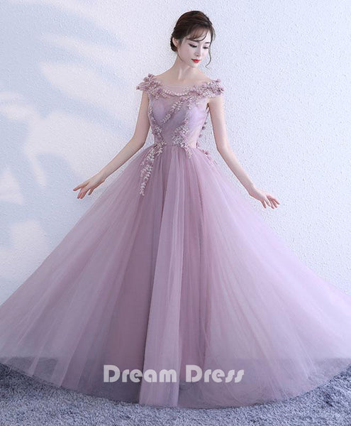 Pink lace tulle long prom dresses, pink evening dresses