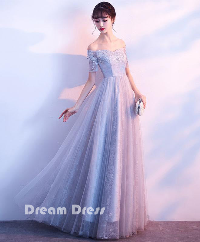Gray tulle lace off shoulder long prom dress, gray evening dresses,PD290001