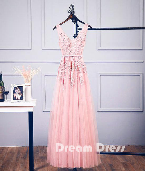 Pink v neck tulle lace applique long prom dress, pink bridesmaid dresses,PD290005
