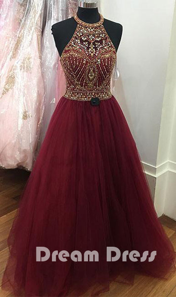 O neck sequin beads tulle prom dress,evening dresses,PD290006