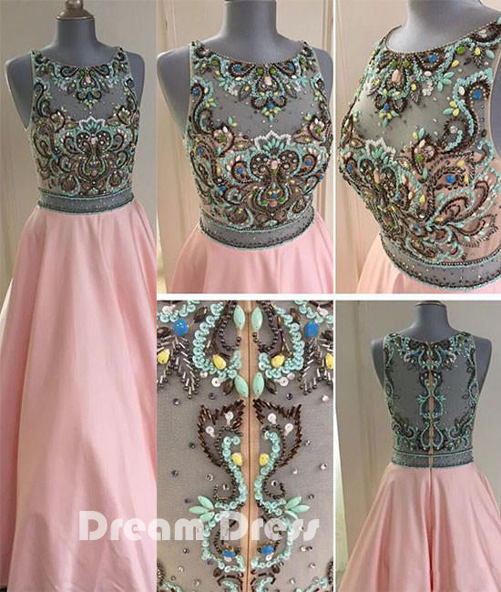 Pink round neck sequin long prom dresses, pink evening dresses,PD290009