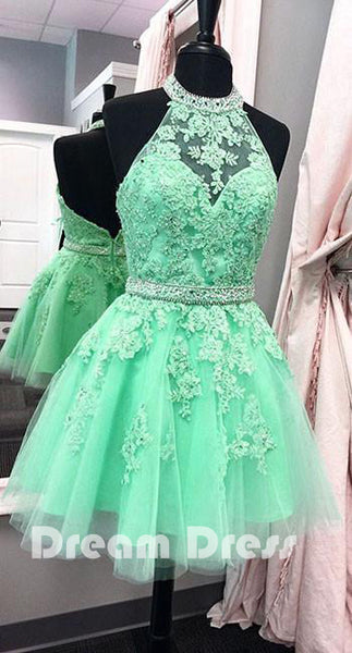 Green lace short prom dress, green homecoming dress