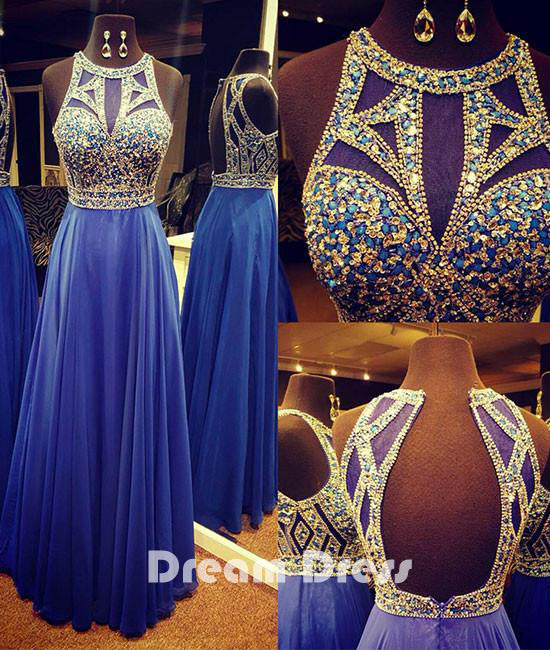 Unique round neck sequin long prom dresses, blue evening dresses,PD290016