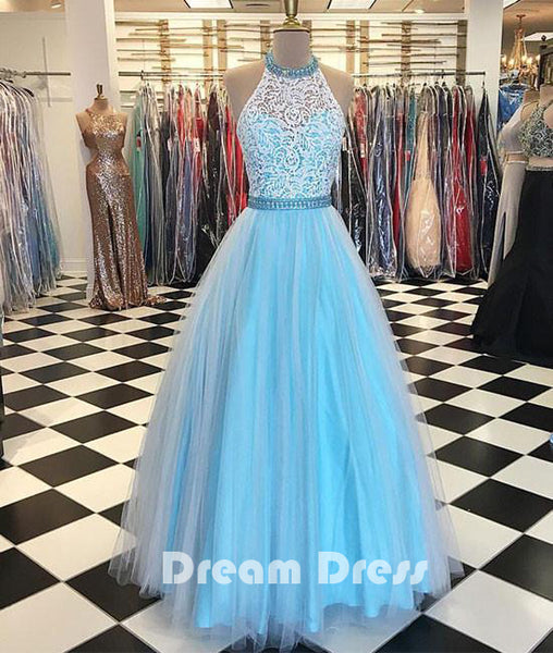 Blue high neck lace tulle long prom dresses, blue evening dresses