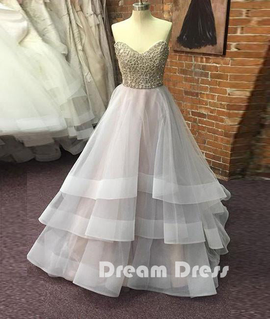 Unique sequin gray tulle prom dresses, long gray evening dresses
