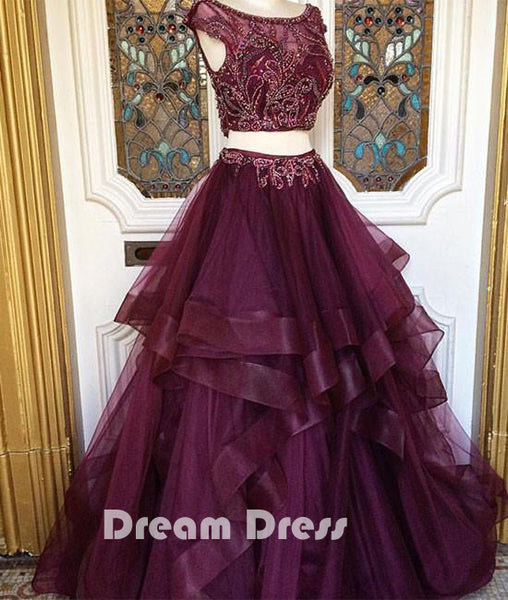 Two pieces sequin tulle prom dresses, long evening dresses,PD290020