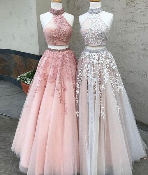 two pieces tulle long prom dress, lace evening dresses,PD14009