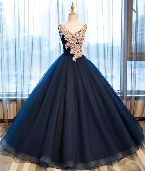 Dark blue v neck satin lace long prom gown ,dark blue evening dresses,PD150001