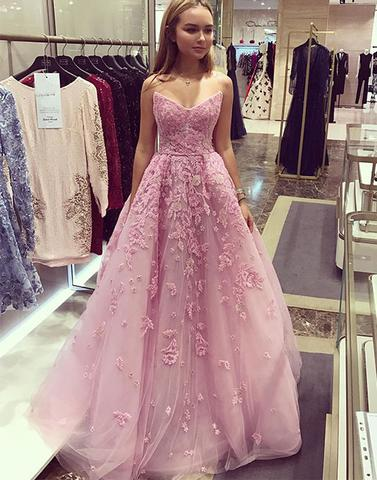 Pink tulle lace long prom dresses, pink evening dresses,PD12006