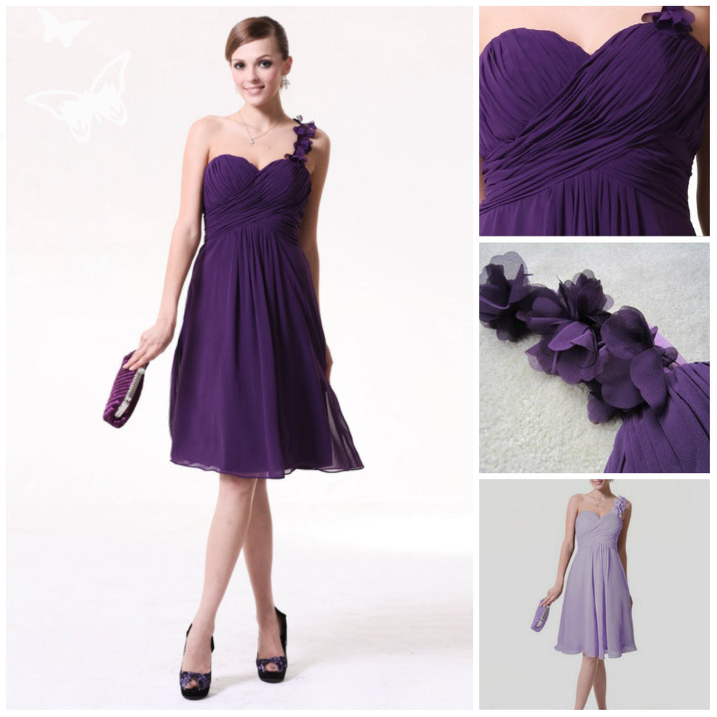 purple bridesmaid dress,short bridesmaid dress,Cheap bridesmaid dress,one shoulder bridesmaid dress,BD842 - dream dress