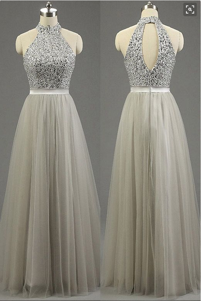 light gray prom dress, long prom dress, beaded prom dress, tulle prom dress, cheap evening dress, BD476 - dream dress