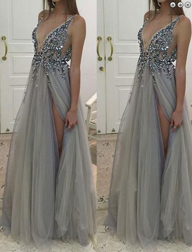 gray Prom Dresses,2017 Prom Dress,v-neck prom dress,side slit Prom Dress,long Prom Dress,BD2795 - dream dress