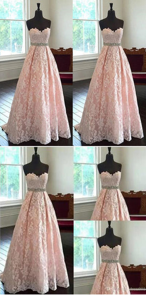 blush pink prom dress,long Prom Dress,lace prom dress,sweetheart evening dress,evening gown 2017,PD2997
