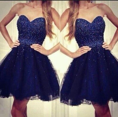 short Homecoming dress,royal blue homecoming Dresses,sweetheart prom dress,beading prom dress,BD615 - dream dress