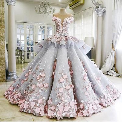 Pretty Light Blue Ball Gown Long Backless Wedding Gowns Dress,BD2503 - dream dress