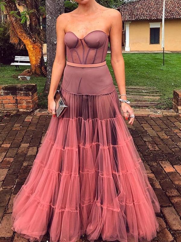 Dark Peach Tulle Sweetheart Prom Dress Long Sexy Strapless Unique Prom/Evening Dresses,PD3760