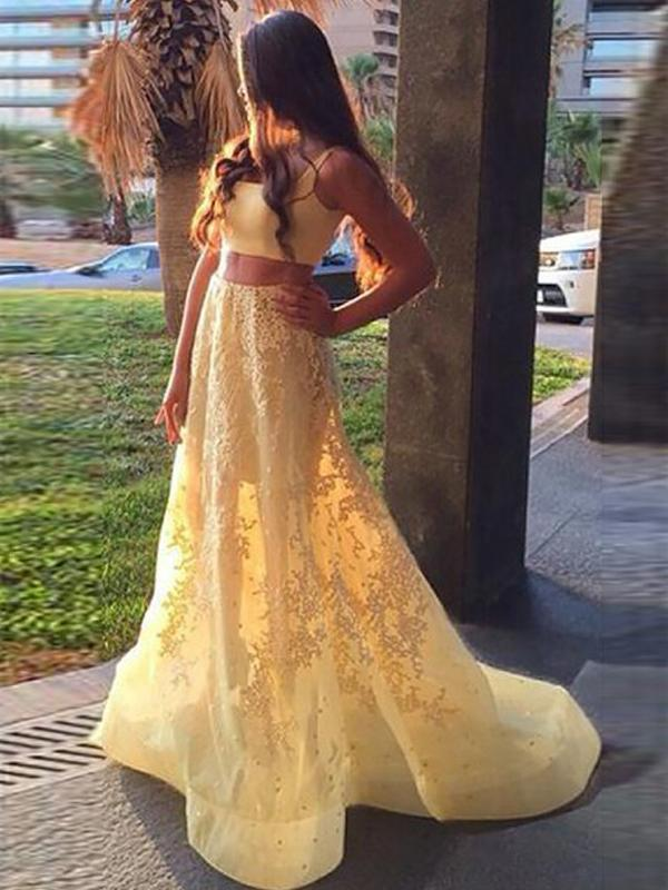 Yellow Lace Appliques Two Piece Prom Dresses A Line Sweet Long Prom Dresses Brush/Sweep Train,PD3780