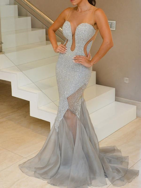 Silver Beading Mermaid Prom Dresses Sexy Illusion Back Long Prom/Evening Dresses,PD3781