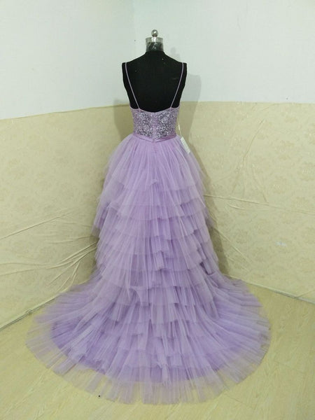 Spaghetti Straps High Low Prom Dresses Lilac V-neck Homecoming Dresses Tulle Long Prom/Evening Dresses,PD3789