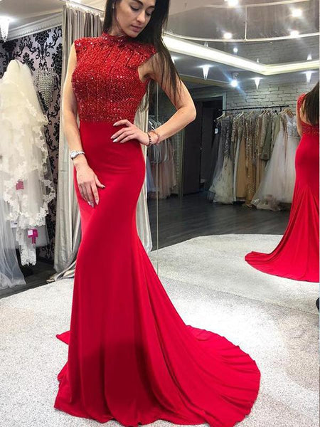 Chic High Neck Beading Red Long Prom Dresses Backless Mermaid Prom/Evening Dresses,PD3790