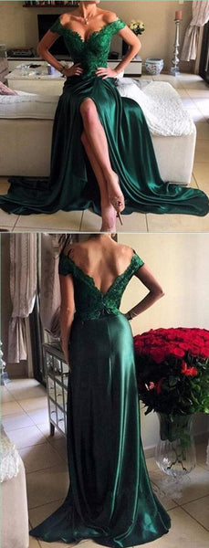 dark green prom dress,long Prom Dresses,off shoulder prom dress,side slit prom dress,cheap evening dresses,BD3847 - dream dress
