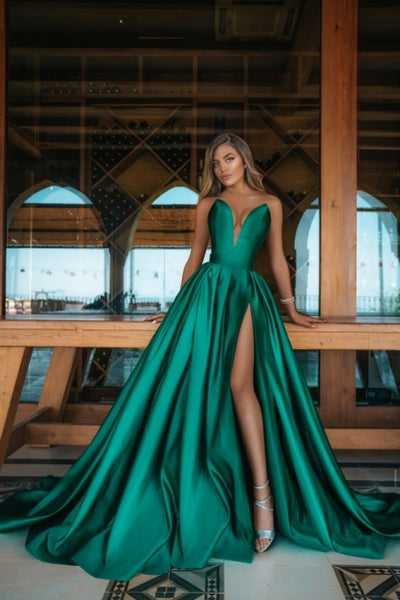 Elegant Sweetheart Green Evening Gowns Long Prom Dress, BD202101