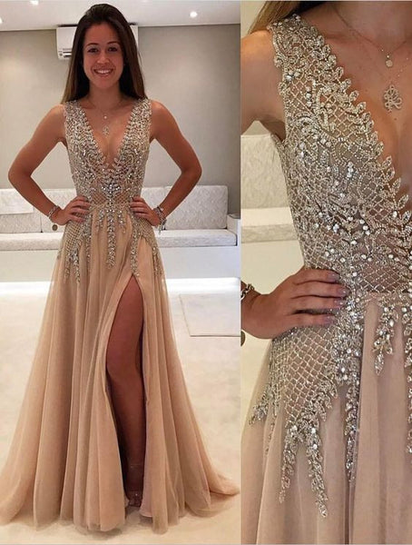 2017 long v-neck prom dresses with slit, 2017 new prom dress, BD479 - dream dress