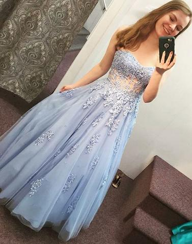 Blue lace tulle long prom dress, sweetheart evening dress