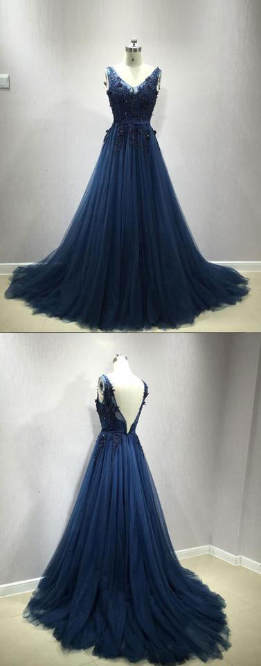 dark blue lace tulle long prom dress, blue evening dress,PD2012