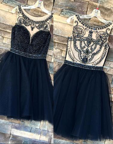 Cute dark blue tulle sequins short prom dress, homecoming dress,PD2038