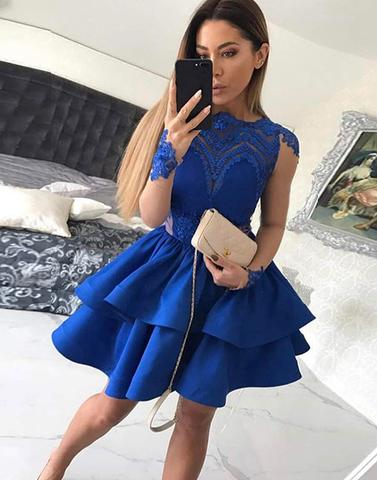 Blue lace long sleeve homecoming dress, short prom dress,PD2074
