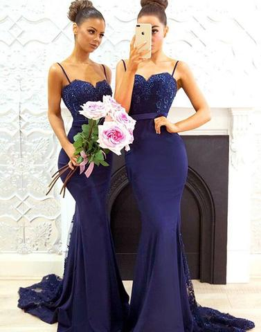 Mermaid dark blue lace long prom dresses, bridesmaid dresses,PD22004