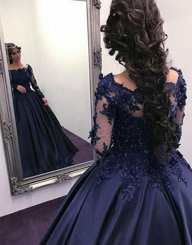 Dark blue lace stain long prom gown, long sleeve evening dresses,PD05002