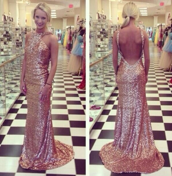 long Evening Dress,sequin Prom Dress,backless prom dress,sparkle prom dress,charming evening dress,BD2707 - dream dress