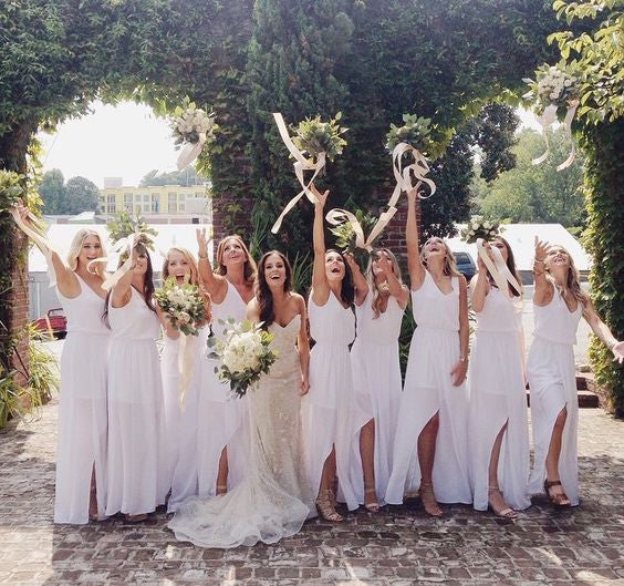 white bridesmaid dress,long bridesmaid dress,chiffon bridesmaid dress,slit bridesmaid dress,BD890 - dream dress
