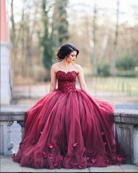 burgundy prom dress,strapless Prom Dress,A-line prom dress,gorgeous prom dress,ball gown,BD1350
