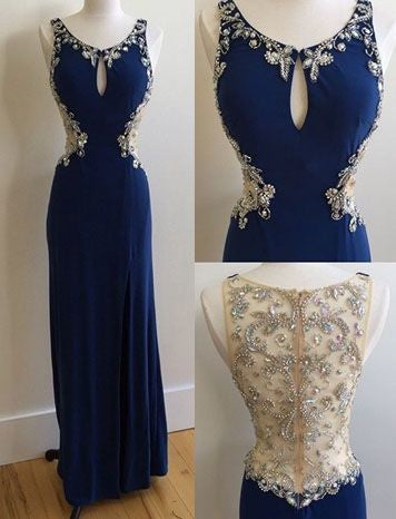 dark blue prom dress,long Prom Dresses,beaded prom dress,chiffon prom dress,cheap prom dress,BD3850 - dream dress