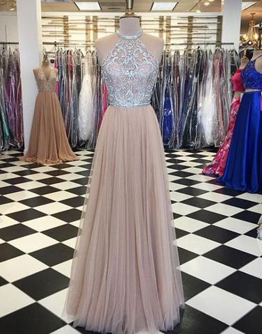 tulle lace long prom dress, lace evening dress