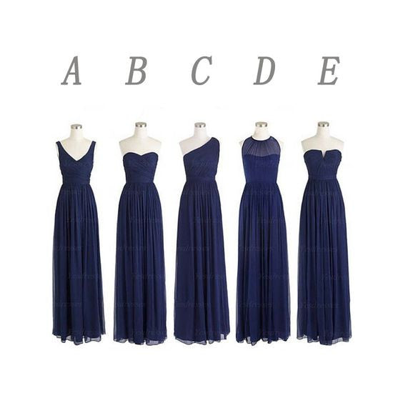 mismatched bridesmaid dress,long bridesmaid dress,chiffon bridesmaid dress,navy bridesmaid dress,BD354 - dream dress