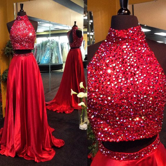 red prom dress,long prom dress,two pieces prom dress,beaded prom dress,high neck evening gown,BD2621 - dream dress