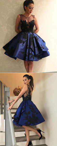 Dark blue lace short prom dress, homecoming dress,BD2502 - dream dress
