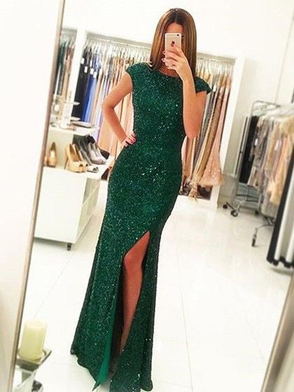 green prom dress, long prom dress, sparkle prom dress, cap sleeves prom dress, side slit evening dress, BD475 - dream dress