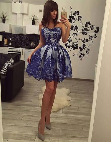Blue lace sweetheart neck short prom dress, lace homecoming dress,PD2056
