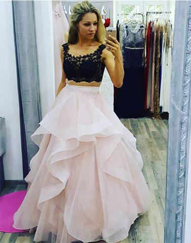 Stylish two pieces lace tulle long prom gown, evenig dress,PD0809 - dream dress